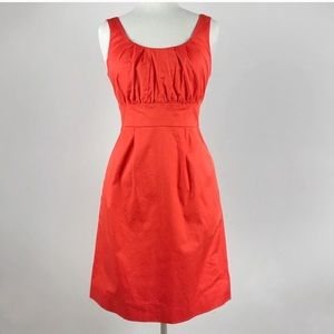J. Crew Orange Suiting Career Pleated Shift Dress